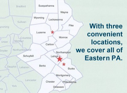 Eastern, PA Map, with 3 branch locations for Hannabery HVAC.