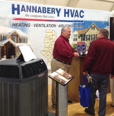 Chris from Hannabery HVAC at the 2014 Ag Hall Homeshow