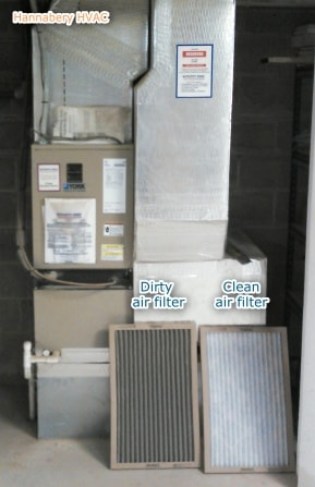 furnace with dirty air filter and clean air filter