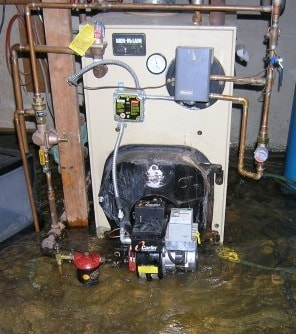 boiler partially under water